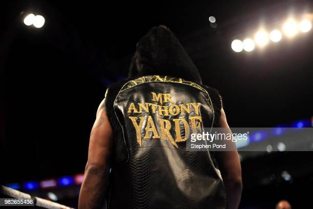 Anthony Yarde arrives in the ring against Darius Sek during their WBO Intercontinental and European LightHeavyweight Championship contest fight at...