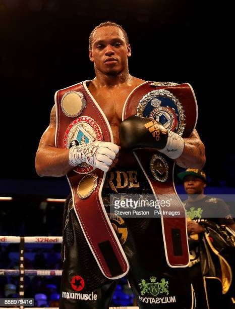 Anthony Yarde celebrates after beating Nikola Sjekloca in their WBO Intercontinental LightHeavyweight Championship bout at the Copper Box London
