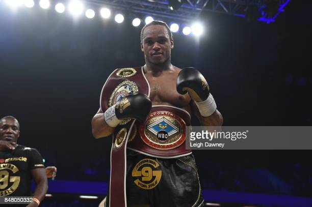 Anthony Yarde celebrates after defeating Norbert Nemesapati for the WBO European Light Heavyweight Title and vacant WBO InterContinental Light...