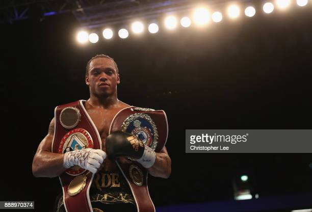Anthony Yarde celebrates after his victory over Nikola Sjekloca in the WBO Intercontinetal LightHeavyweight Championship fight at Copper Box Arena on...