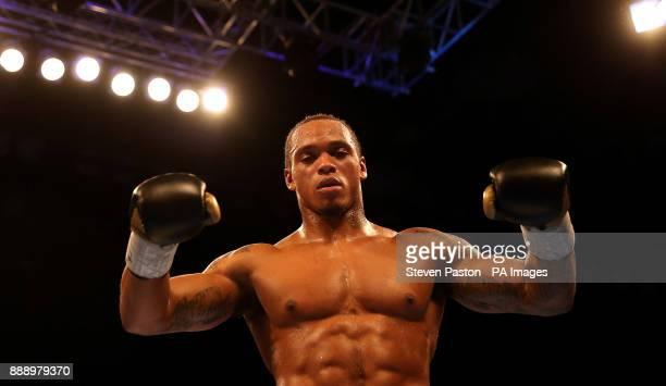 Anthony Yarde celebrates beating Nikola Sjekloca in their WBO Intercontinental LightHeavyweight Championship bout at the Copper Box London