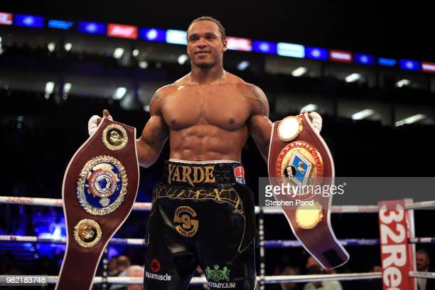 Anthony Yarde celebrates victory over Darius Sek during their WBO Intercontinental and European LightHeavyweight Championship contest fight at The O2...
