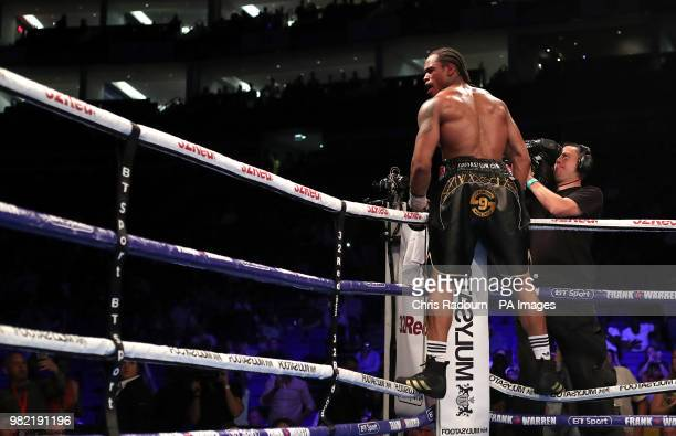 Anthony Yarde celebrates winning the WBO Intercontinental European LightHeavyweight Championship at The O2 London