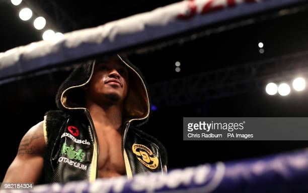 Anthony Yarde enters the ring during the WBO Intercontinental European LightHeavyweight Championship at The O2 London
