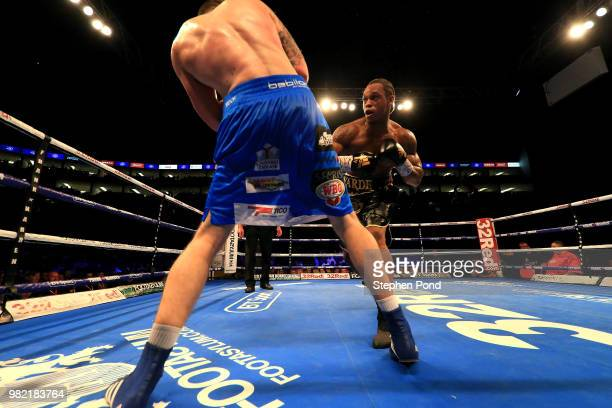 Anthony Yarde in action against Darius Sek during their WBO Intercontinental and European LightHeavyweight Championship contest fight at The O2 Arena...