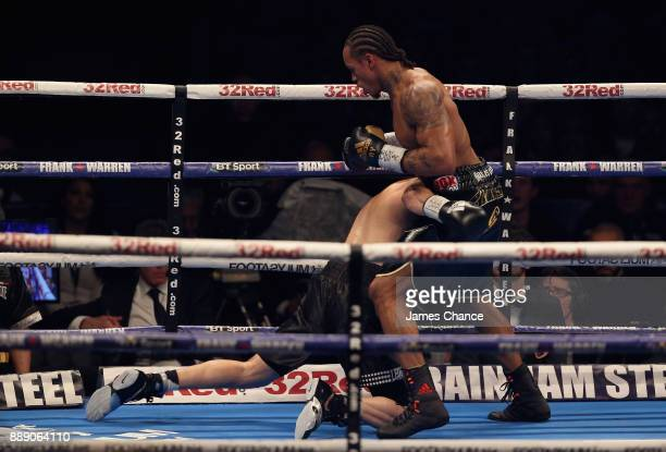 Anthony Yarde in action against Nikola Sjekloca during there WBO European Light Heavyweight and WBO InterContinental Light Heavyweight Title fight at...