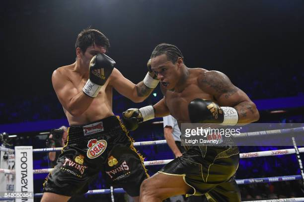 Anthony Yarde in boxing action with Norbert Nemesapati during the WBO European Light Heavyweight Title and vacant WBO InterContinental Light...