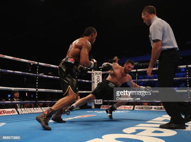 Anthony Yarde knocks down Nikola Sjekloca in the second round but the fight carries on in the WBO Intercontinetal LightHeavyweight Championship fight...
