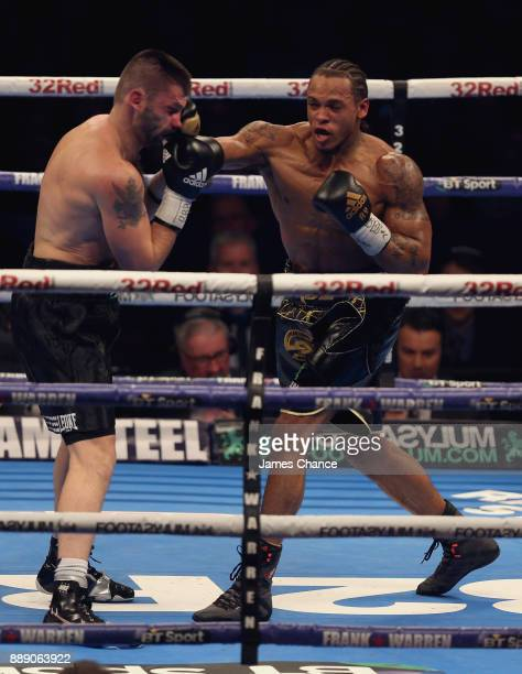 Anthony Yarde punches Anthony Yarde during there WBO European Light Heavyweight and WBO InterContinental Light Heavyweight Title fight at Copper Box...