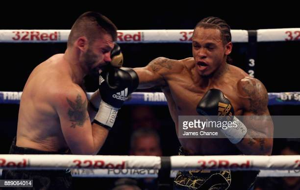 Anthony Yarde punches Nikola Sjekloca during there WBO European Light Heavyweight and WBO InterContinental Light Heavyweight Title fight at Copper...