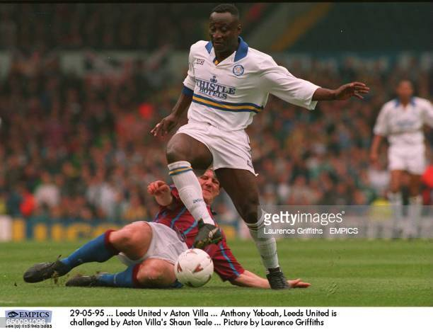 Anthony Yeboah Leeds United is challenged by Aston Villa's Shaun Teale