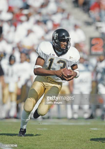 Anthony Young Quarterback for the Wake Forest Demon Deacons runs the ball during the NCAA Atlantic Coast Conference college football game against the...