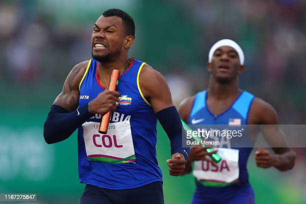 Anthony Zambrano of Team Colombia crosses the finish line in Men's 4x400m Relay Final on Day 15 of Lima 2019 Pan American Games at Athletics Stadium...