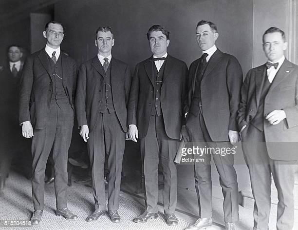 Anthracite miner's leaders who are meeting to decide whether to strike or not Chris J Golden Phil Murray John L Lewis John T Dempsey and Thomas...