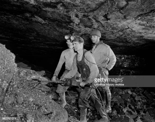Anthracite Miners Showing Serviceman how Anthracite is Mined during Miner's Rally during War Production Drive Pennsylvania USA William Perlitch for...