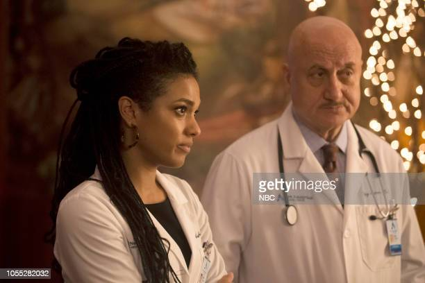 NEW AMSTERDAM 'Anthropocene' Episode 106 Pictured Freema Agyeman as Dr Helen Sharpe Anupam Kher as Dr Vijay Kapoor