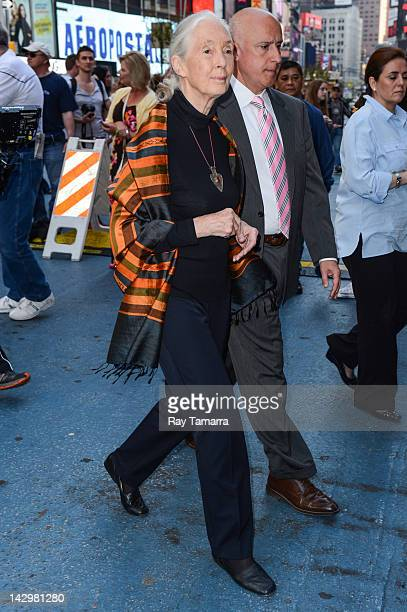 Anthropologist Jane Goodall leaves the 'Good Morning America' taping at the ABC Times Square Studios on April 16 2012 in New York City