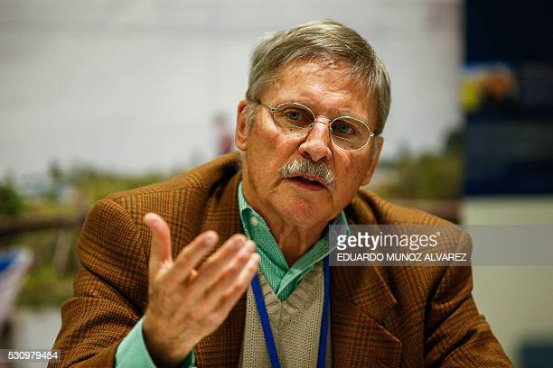 Anthropologist Mac Chapin speaks to guests during a press conference about the new high Indigenous tech map on May 12 at the United Nations...