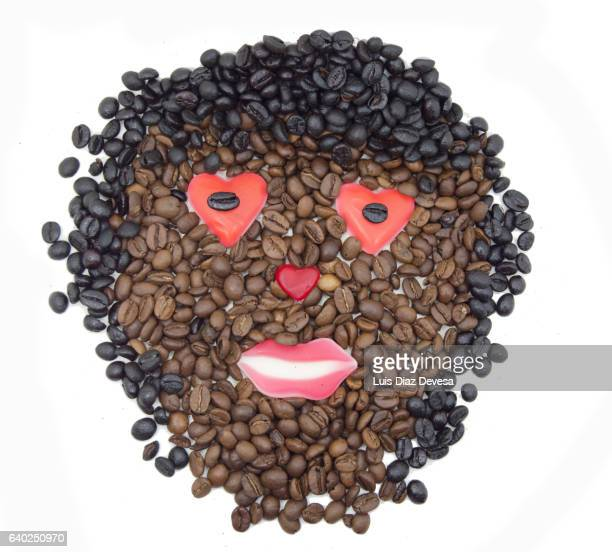 Anthropomorphic Face On Coffee and jelly bean