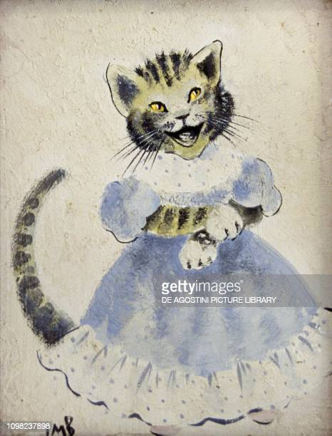 Anthropomorphic kitten 1920 ca watercoloured drawing signed IMB United Kingdom 20th century