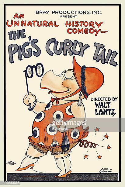 Anthropomorphic pig in dress and holding a lorgnette, with high heels and hat on a poster that advertises the Walter Lantz movie 'The Pig's Curly...