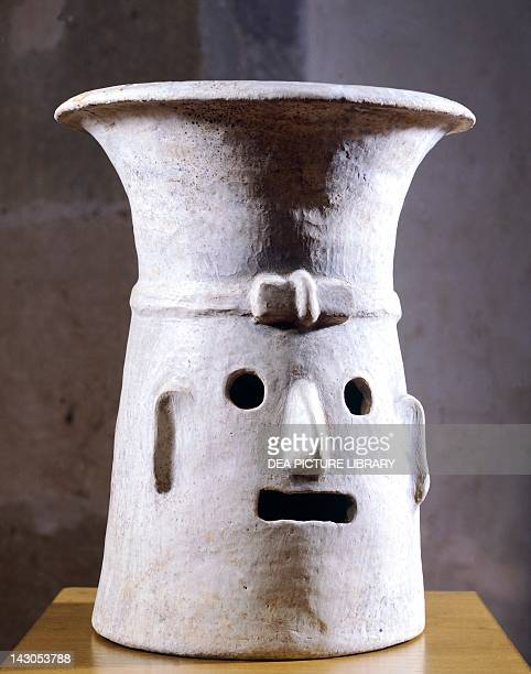 Anthropomorphic terracotta brazier depicting the goddess of fire artefact from San Jose Mogote Mexico Zapotec Civilization PreClassical period 4th...