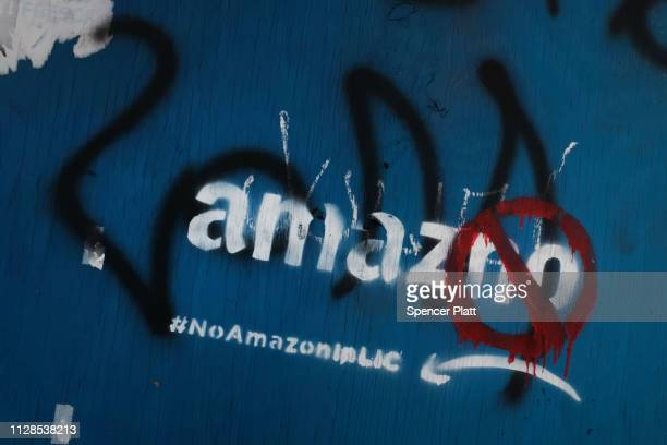 Anti Amazon graffiti is displayed in the Long Island City neighborhood on February 09 2019 in New York City According to recent reports Amazon is...