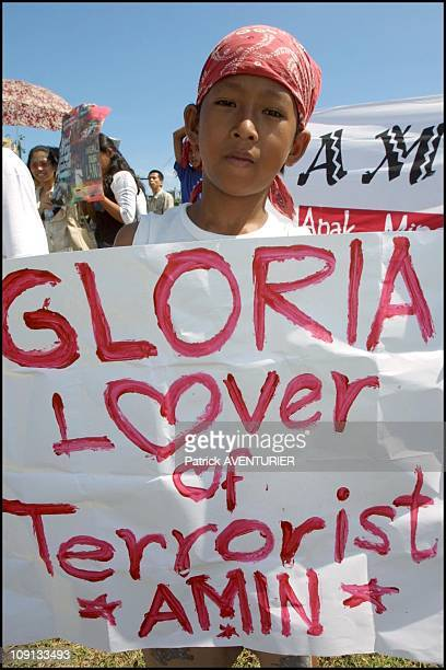 Anti American Protesters Held A Demonstration Disturbing Filipino President Gloria Macapagal Arroyo'S Visit To Zamboanga, Not Far From The Air Base...