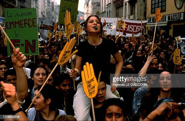Anti and Pro National Front demonstration in Paris France in May 1998 Students demonstrating against the National Front near the Bastille in Paris