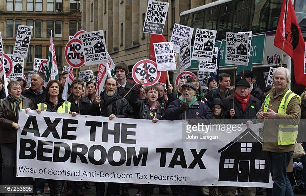 Anti bedroom tax protesters approaching George Square, Glasgow.