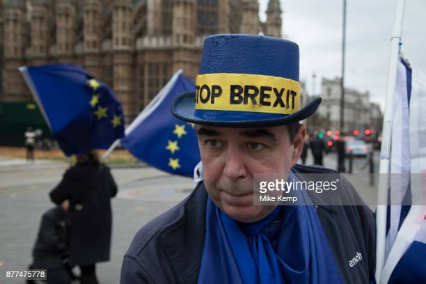 Anti Brexit and pro Europe demonstrators protest in Westminster on Budget Day on 22nd November 2017 in London England United Kingdom As the Tories...