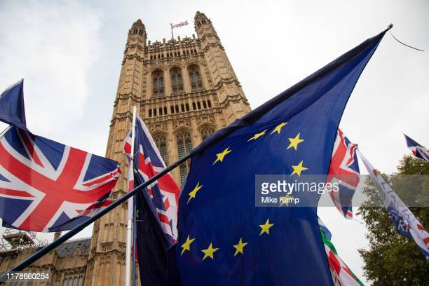 Anti Brexit pro European Union protest in Westminster on 28th October 2019 in London England United Kingdom Brexit is the scheduled withdrawal of the...
