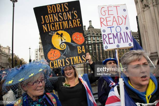 Anti Brexit pro European Union protesters demonstrating in Westminster on 30th October 2019 in London England United Kingdom Brexit is the scheduled...