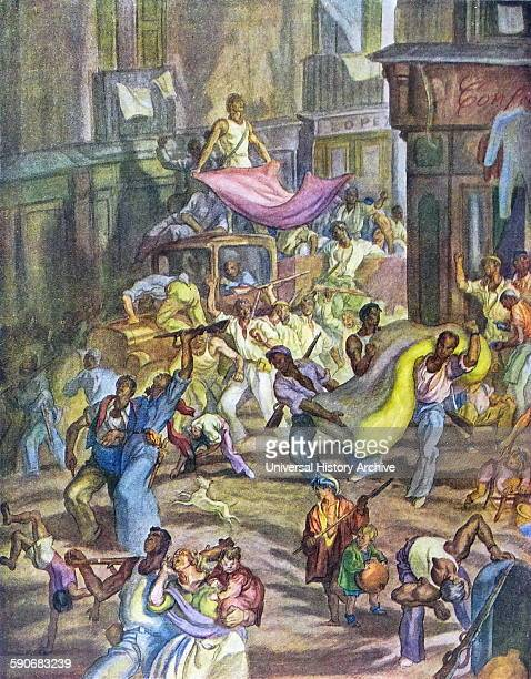 Anti communist propaganda illustration showing republicans looting during the Spanish Civil War