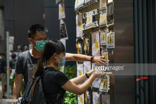 Anti extradition bill protesters placing anti government posters at the gate of the government complex building Hundreds gathered near the Hong Kong...