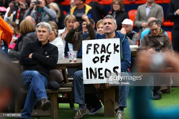 Anti fracking protest during the 5th Tour of Yorkshire 2019 Team Presentation / @letouryorkshire / on May 01 2019 in Leeds United Kingdom