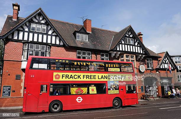 Anti fracking protestors from Lancashire park their bus outside a pub as they show support for Yorkshire protestors outside the County Hall building...