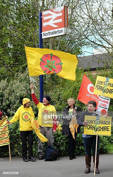 Anti fracking protestors from Lancashire show support for Yorkshire as they demonstrate outside the County Hall building in Northallerton as the...