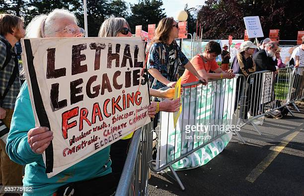Anti fracking protestors respond to a decision by North Yorkshire County council's Planning and Regulatory Committee who have granted a planning...