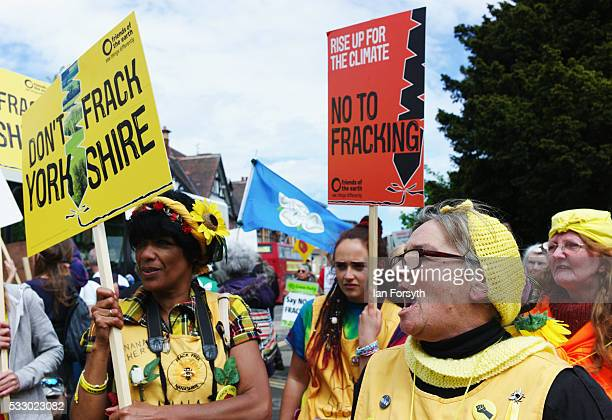 Anti fracking protestors sing outside the County Hall building in Northallerton as the County council's Planning and Regulatory Committee meet inside...