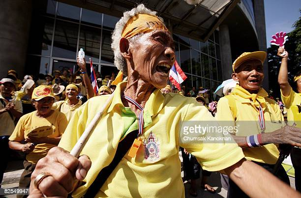 Anti Government protesters demonstrate outside the studio of National Broadcasting Services of Thailand on August 26 in Bangkok Thailand Thousand of...