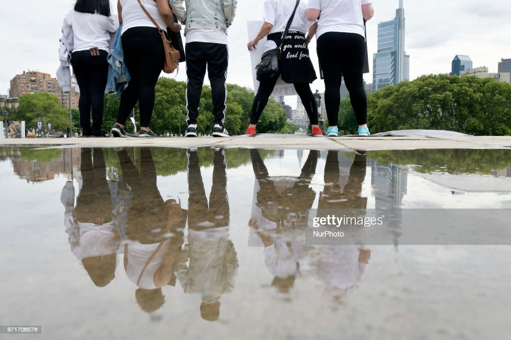 Anti gun violence rally on the Art Museum steps, in Philadelphia, PA, on June 11, 2018. The 3rd annual Fill the Steps Against Gun Violence gathering is to raise awareness on the deadly epidemic and is organized by columnist Helen Ubinas.