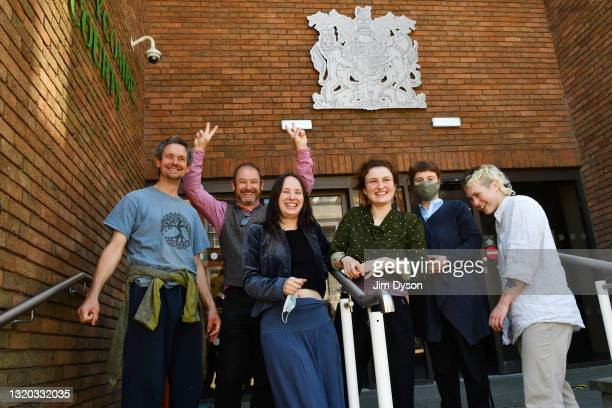 Anti HS2 activists including Dan Hooper, aka Swampy, and Green Party Councillor for West Berkshire Council, Steve Masters, celebrate outside High...