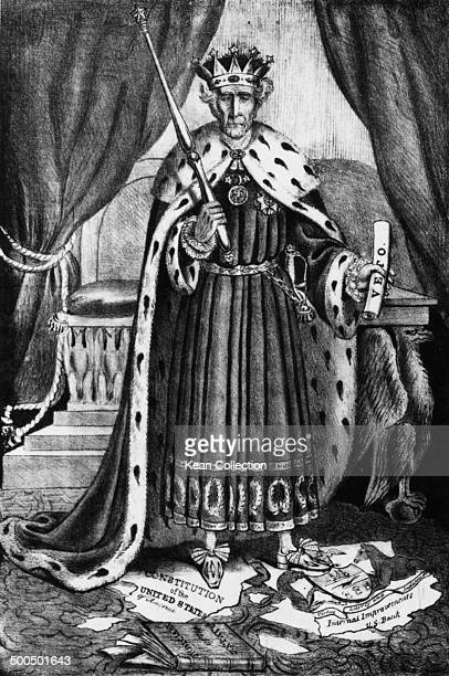 Anti Jackson satire poster of the Seventh President of the United States General Andrew Jackson titled 'King Andrew The First 'Born to Command''...