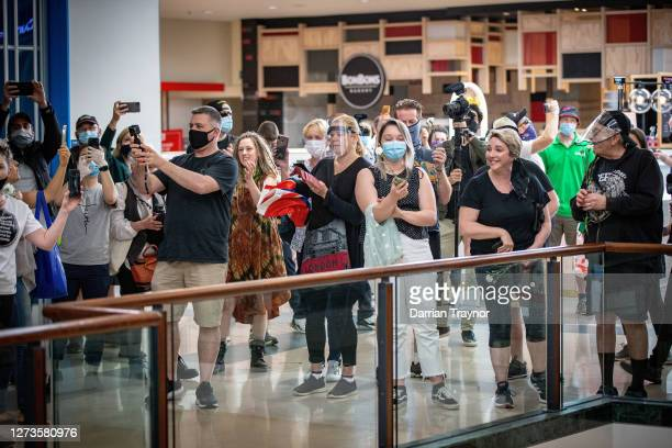 Anti Lockdown protesters sing in Chadstone Shopping Centre on September 20, 2020 in Melbourne, Australia. Anti-lockdown protesters have been using...