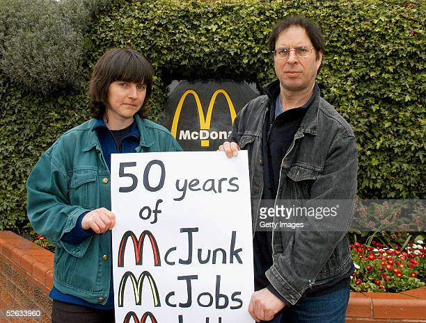 Anti McDonald's campaigners, Helen Steel and Dave Morris protest against McDonald's 50th anniversary celebrations outside the fastfood chain...