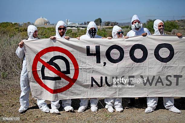 Anti nuclear energy activists stage a protest near the San Onofre Nuclear Power Plant in San Clemente CA on Saturday March 11 2012 The protest was...