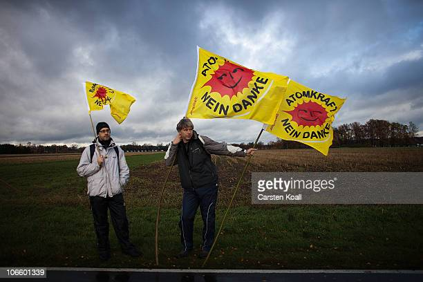 Anti nuclear waste protestors takes part in a demonstration against the transport and storage of nuclear waste on November 6 2010 in Dannenberg near...