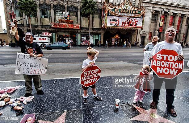 Anti Obama and Anti Abortion demonstrators on Hollywood Blvd.