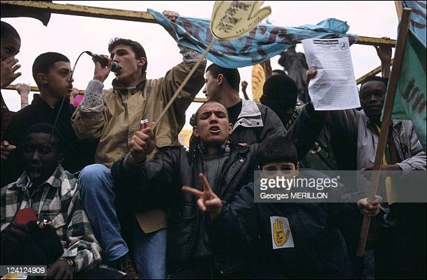 Anti Racist demonstration In Paris France On February 04 1994 SOS Racisme symbol Touche pas a mon pote